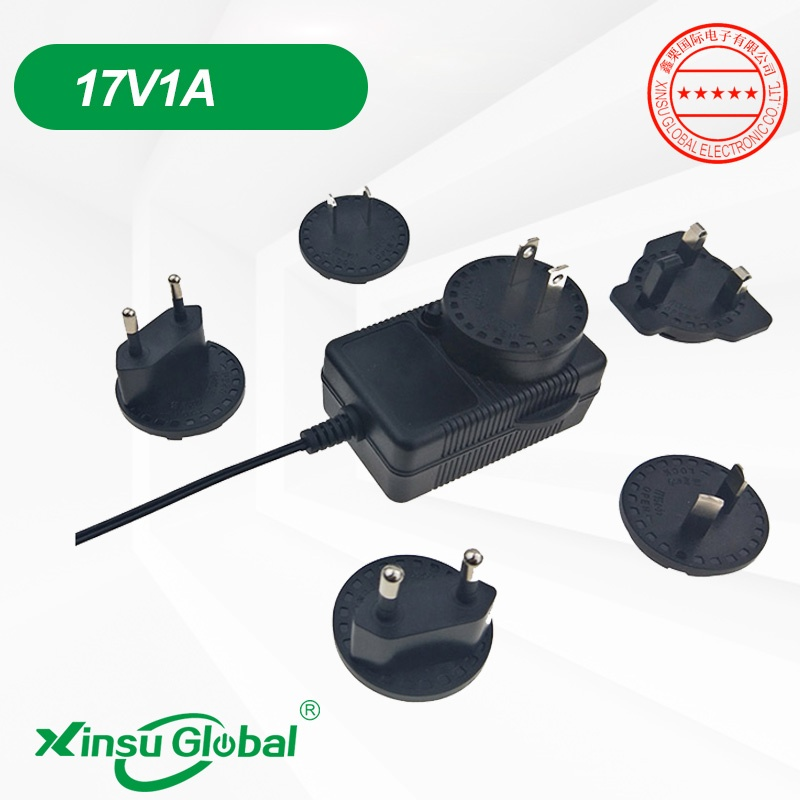 Li-ion battery adapter interchangeable wall plug 17V 1A charger