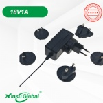 Audio Interchangeable detachable plug switching power supply adapter 18V 1A