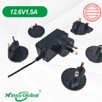 Interchangeable wall plug li-ion battery 12.6V 1.5A charger