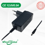 CE GS listed 12.6V 0.5A Europe wall plug charger
