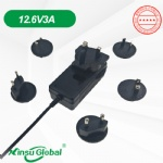 Multi interchangeable wall plug 12.6V 3A lithium battery charger