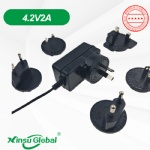 4.2V 2A multi interchangeable wall plugs li-ion battery charger adapter