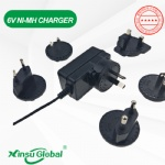 Interchangeable wall plug 6V 0.4A Ni-MH battery charger 7V 400mA UL PSE CE SAA
